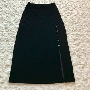 Vintage Black Velvet Gothic Maxi Skirt